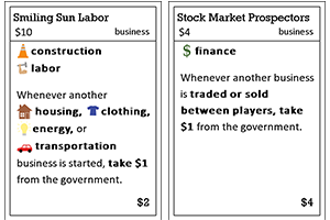 No one has requested the first revision yet, so I haven't made another prototype of it! Here are a couple of cards that highlight some of the problems with this version.