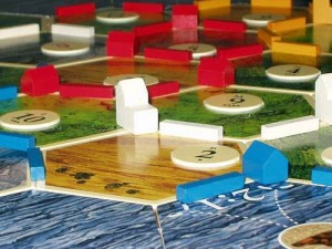 In Settlers, victory points are almost always gained and never lost, creating a stable count down to the end of the game. Image from the Board Game Geek.