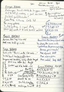 A recent page from my notebook. Note: messiness not required.