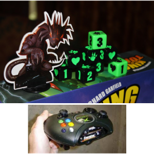 Whoever designed the King of Tokyo components must have been heavily influenced by the original X-Box controllers. Images from Board Game Geek and Slash Gear.