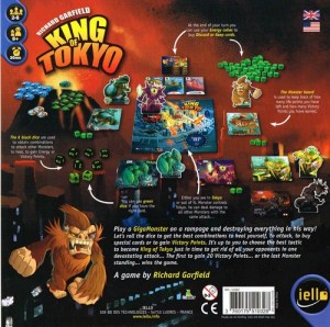 Information about King of Tokyo that appears on the back of the box before the game is opened.