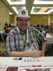 Jeff, a friend I met at DunDraCon, played a couple more games of Corporate America over the weekend. Despite his eloquent speeches, he never seemed to win the presidency--until this game!