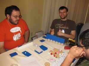 The first blind playtest of Fungus. See that egg carton card stand there? That's how you know it's a real prototype!