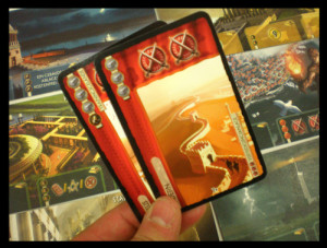 In 7 Wonders, military cards force you to pay attention to your neighbors. Image from Board Game Geek.