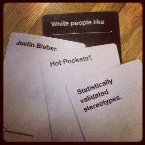 Cards Against Humanity found its place in a market with Apples to Apples, but can't escape constant comparisons. Image from Board Game Geek.