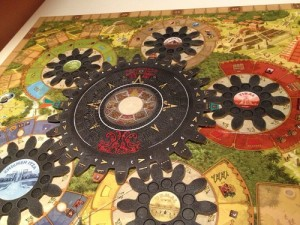 The unique gears of Tzolk'in are a big selling point for the game. Image from Board Game Geek.