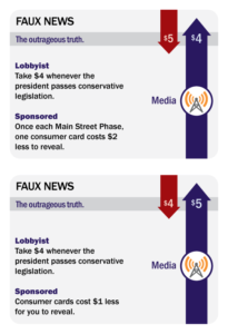 The original Faux News (top) and the updated version.
